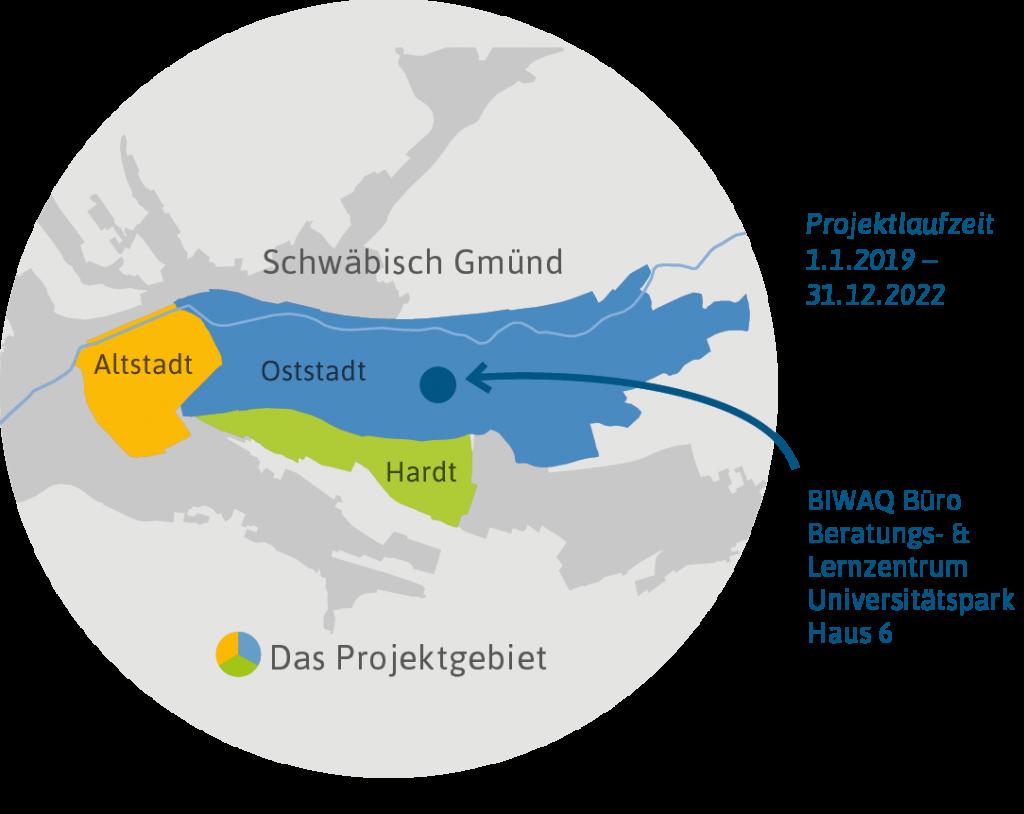 Das Projektgebiet umfasst Altstadt, Oststadt und Hardt
